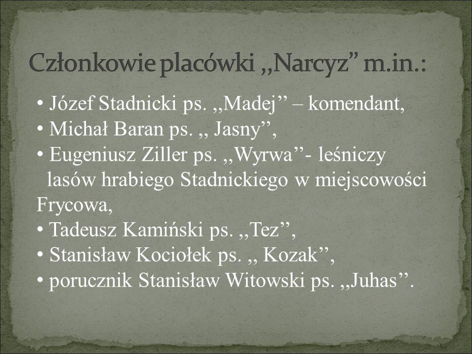 Józef Stadnicki ps.,,Madej'' – komendant, Michał Baran ps.,, Jasny'', Eugeniusz Ziller ps.,,Wyrwa''- leśniczy lasów hrabiego Stadnickiego w miejscowoś
