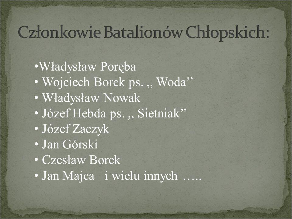 Władysław Poręba Wojciech Borek ps.,, Woda'' Władysław Nowak Józef Hebda ps.,, Sietniak'' Józef Zaczyk Jan Górski Czesław Borek Jan Majca i wielu inny