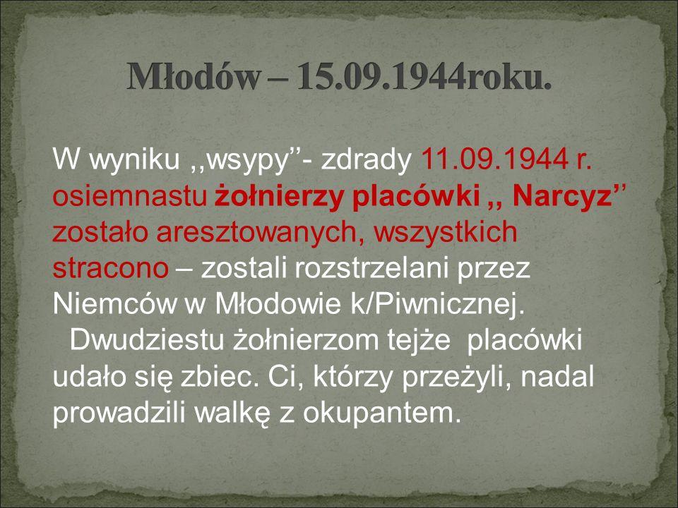 W wyniku,,wsypy''- zdrady 11.09.1944 r. osiemnastu żołnierzy placówki,, Narcyz'' zostało aresztowanych, wszystkich stracono – zostali rozstrzelani prz