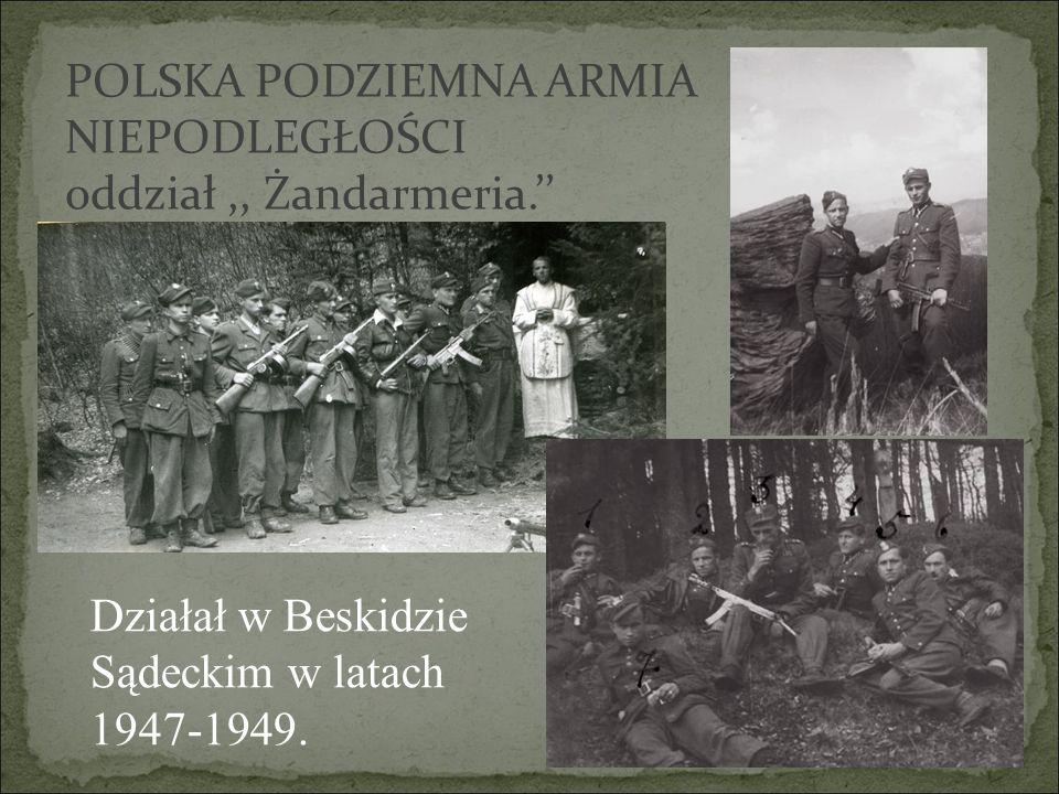 POLSKA PODZIEMNA ARMIA NIEPODLEGŁOŚCI oddział,, Żandarmeria.'' Działał w Beskidzie Sądeckim w latach 1947-1949.