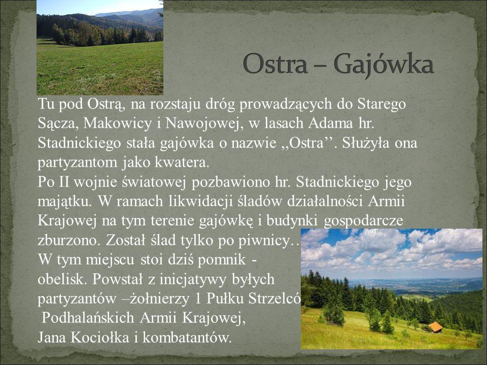 Tu pod Ostrą, na rozstaju dróg prowadzących do Starego Sącza, Makowicy i Nawojowej, w lasach Adama hr. Stadnickiego stała gajówka o nazwie,,Ostra''. S