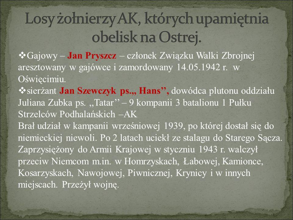  Gajowy – Jan Pryszcz – członek Związku Walki Zbrojnej aresztowany w gajówce i zamordowany 14.05.1942 r. w Oświęcimiu.  sierżant Jan Szewczyk ps.,,