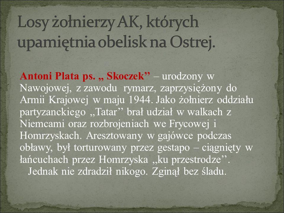 Antoni Plata ps.,, Skoczek'' – urodzony w Nawojowej, z zawodu rymarz, zaprzysiężony do Armii Krajowej w maju 1944. Jako żołnierz oddziału partyzanckie