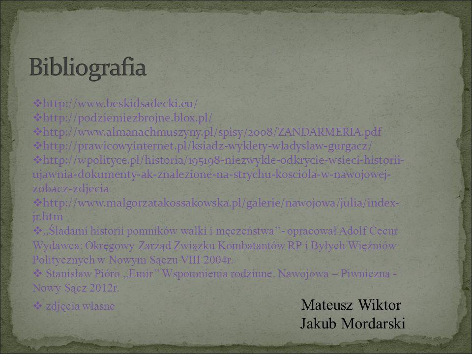 http://www.beskidsadecki.eu/  http://podziemiezbrojne.blox.pl/  http://www.almanachmuszyny.pl/spisy/2008/ZANDARMERIA.pdf  http://prawicowyinterne