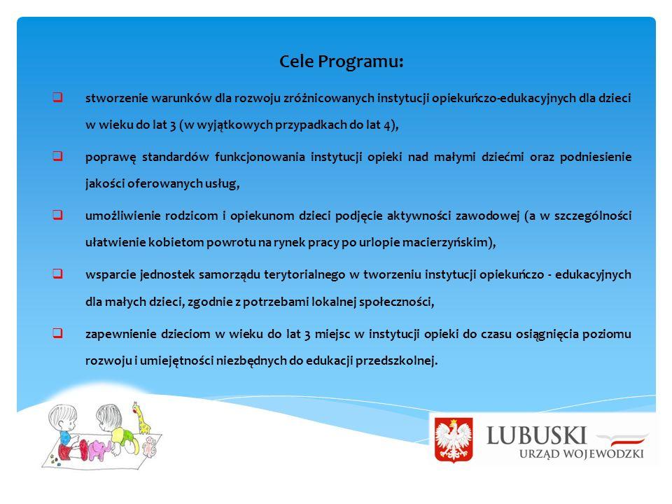 Cele Programu:  stworzenie warunków dla rozwoju zróżnicowanych instytucji opiekuńczo-edukacyjnych dla dzieci w wieku do lat 3 (w wyjątkowych przypadkach do lat 4),  poprawę standardów funkcjonowania instytucji opieki nad małymi dziećmi oraz podniesienie jakości oferowanych usług,  umożliwienie rodzicom i opiekunom dzieci podjęcie aktywności zawodowej (a w szczególności ułatwienie kobietom powrotu na rynek pracy po urlopie macierzyńskim),  wsparcie jednostek samorządu terytorialnego w tworzeniu instytucji opiekuńczo - edukacyjnych dla małych dzieci, zgodnie z potrzebami lokalnej społeczności,  zapewnienie dzieciom w wieku do lat 3 miejsc w instytucji opieki do czasu osiągnięcia poziomu rozwoju i umiejętności niezbędnych do edukacji przedszkolnej.