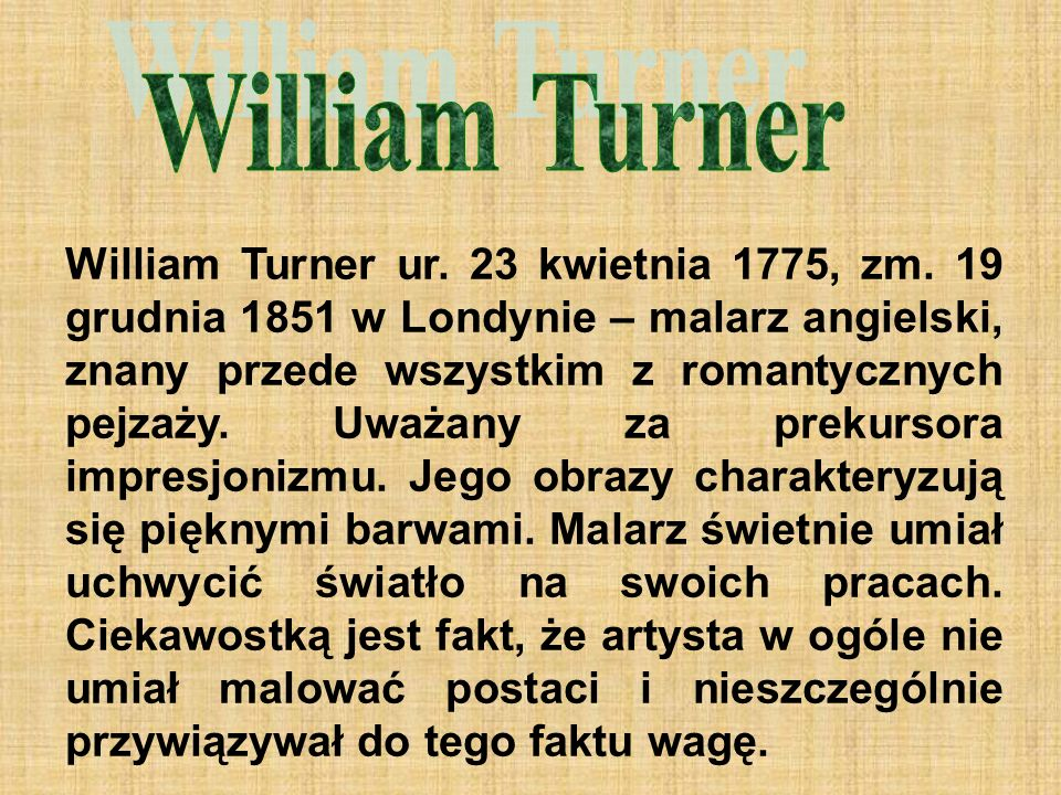 William Turner ur. 23 kwietnia 1775, zm.