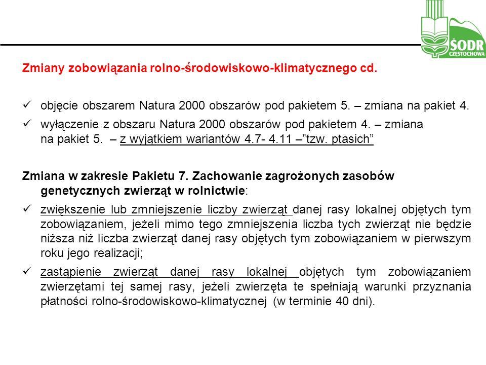 Zmiany zobowiązania rolno-środowiskowo-klimatycznego cd.