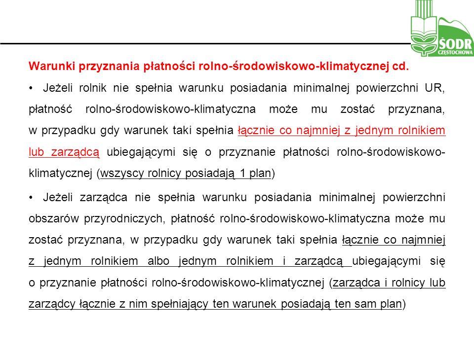Warunki przyznania płatności rolno-środowiskowo-klimatycznej cd.