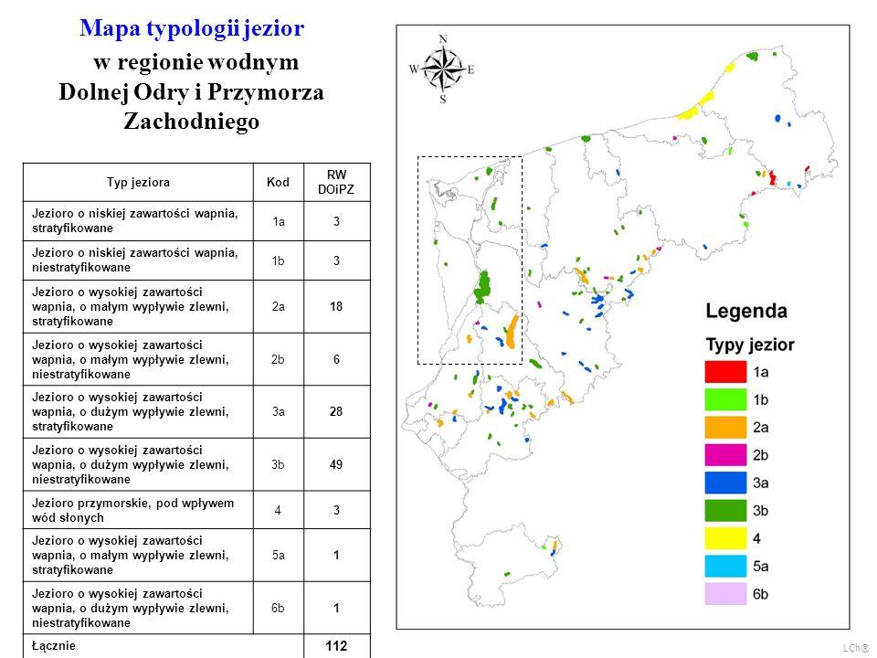 Mapa typologii jezior w regionie wodnym Dolnej Odry i Przymorza Zachodniego Typ jezioraKod RW DOiPZ Jezioro o niskiej zawartości wapnia, stratyfikowan