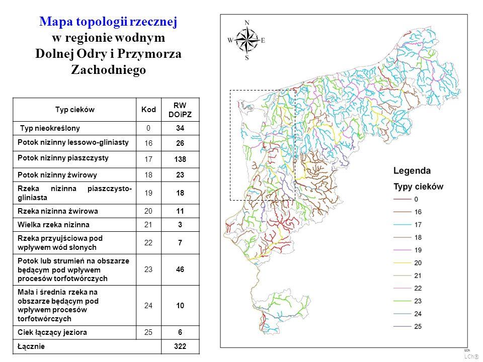Mapa topologii rzecznej w regionie wodnym Dolnej Odry i Przymorza Zachodniego Typ ciekówKod RW DOiPZ Typ nieokreślony034 Potok nizinny lessowo-glinias
