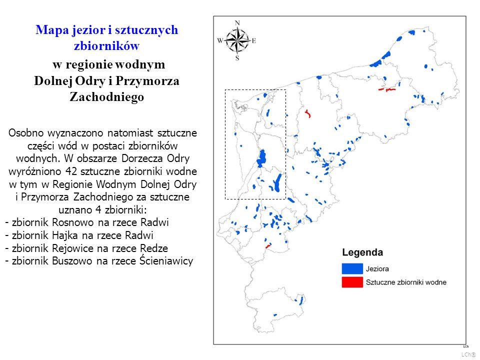 Mapa jezior i sztucznych zbiorników w regionie wodnym Dolnej Odry i Przymorza Zachodniego Osobno wyznaczono natomiast sztuczne części wód w postaci zb