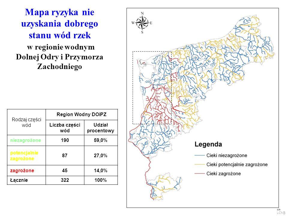 Mapa ryzyka nie uzyskania dobrego stanu wód rzek w regionie wodnym Dolnej Odry i Przymorza Zachodniego Rodzaj części wód Region Wodny DOiPZ Liczba czę