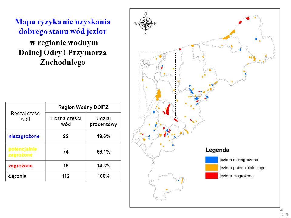 Mapa ryzyka nie uzyskania dobrego stanu wód jezior w regionie wodnym Dolnej Odry i Przymorza Zachodniego Rodzaj części wód Region Wodny DOiPZ Liczba części wód Udział procentowy niezagrożone2219,6% potencjalnie zagrożone 7466,1% zagrożone1614,3% Łącznie112100% LCh®