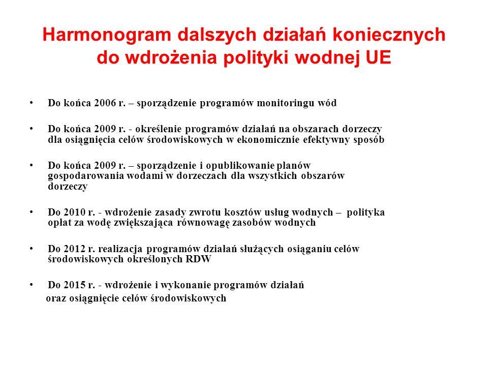 Harmonogram dalszych działań koniecznych do wdrożenia polityki wodnej UE Do końca 2006 r. – sporządzenie programów monitoringu wód Do końca 2009 r. -