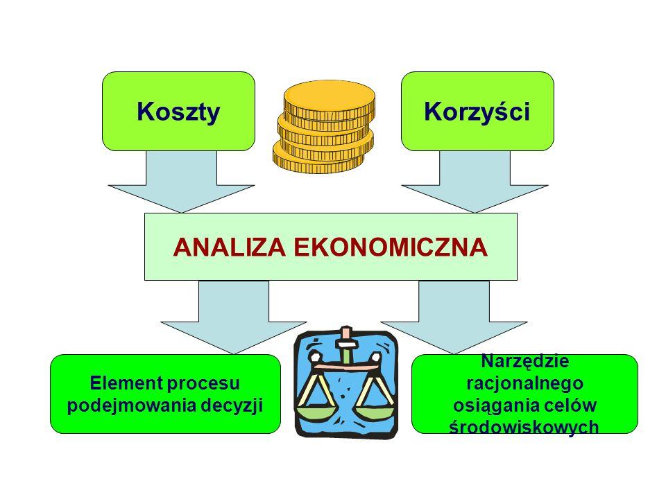 KosztyKorzyści Element procesu podejmowania decyzji Narzędzie racjonalnego osiągania celów środowiskowych ANALIZA EKONOMICZNA Analiza ekonomiczna
