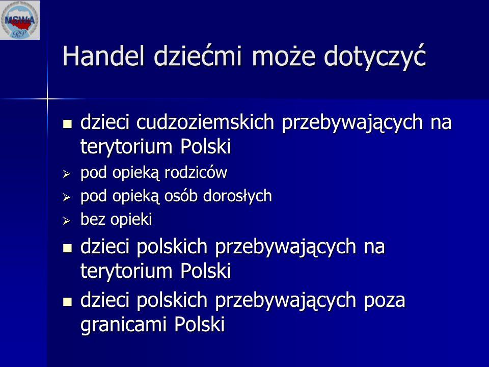 Handel dziećmi może dotyczyć dzieci cudzoziemskich przebywających na terytorium Polski dzieci cudzoziemskich przebywających na terytorium Polski  pod