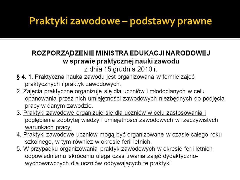 ROZPORZĄDZENIE MINISTRA EDUKACJI NARODOWEJ w sprawie praktycznej nauki zawodu z dnia 15 grudnia 2010 r.