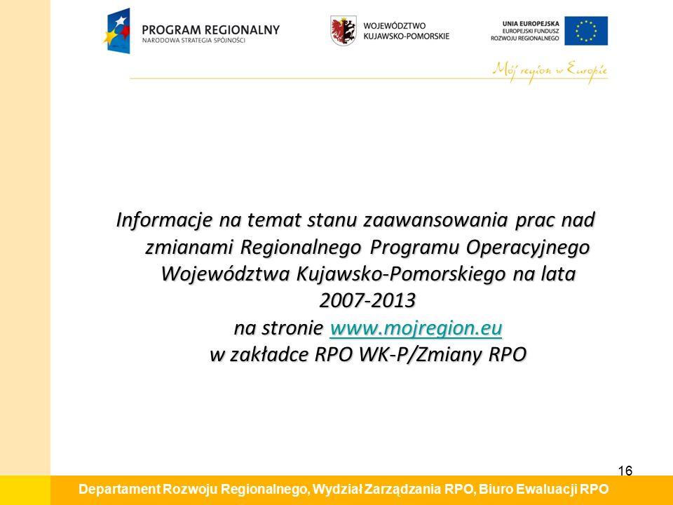 Departament Rozwoju Regionalnego, Wydział Zarządzania RPO, Biuro Ewaluacji RPO Informacje na temat stanu zaawansowania prac nad zmianami Regionalnego