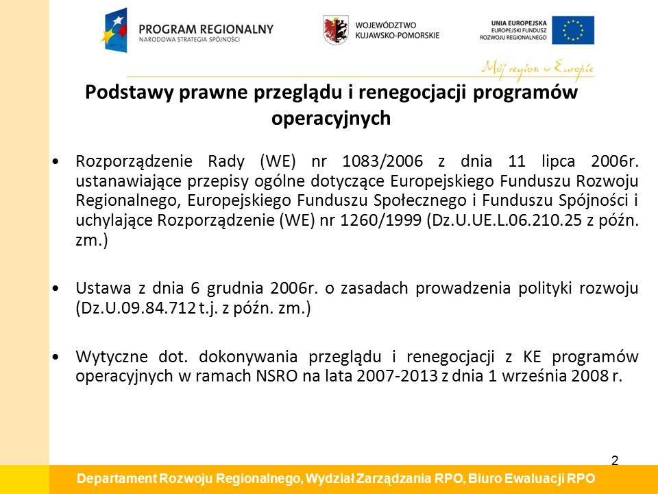 Departament Rozwoju Regionalnego, Wydział Zarządzania RPO, Biuro Ewaluacji RPO Podstawy prawne przeglądu i renegocjacji programów operacyjnych Rozporządzenie Rady (WE) nr 1083/2006 z dnia 11 lipca 2006r.