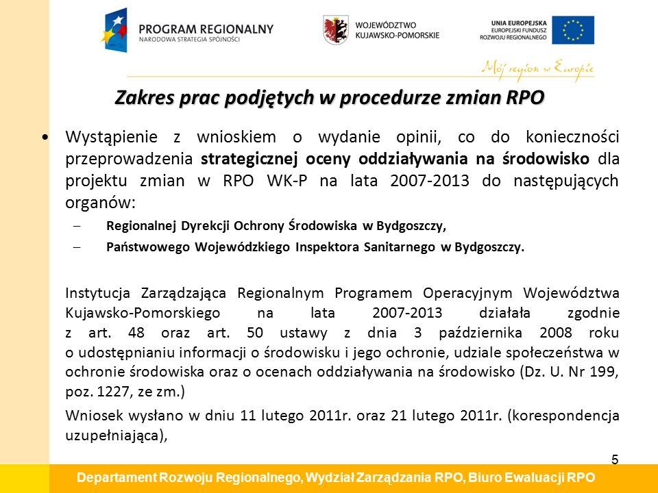 Departament Rozwoju Regionalnego, Wydział Zarządzania RPO, Biuro Ewaluacji RPO Wystąpienie z wnioskiem o wydanie opinii, co do konieczności przeprowad