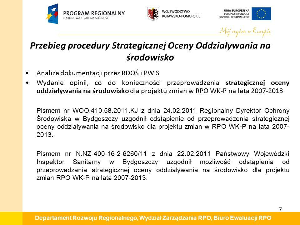 Departament Rozwoju Regionalnego, Wydział Zarządzania RPO, Biuro Ewaluacji RPO Analiza dokumentacji przez RDOŚ i PWIS Wydanie opinii, co do koniecznoś