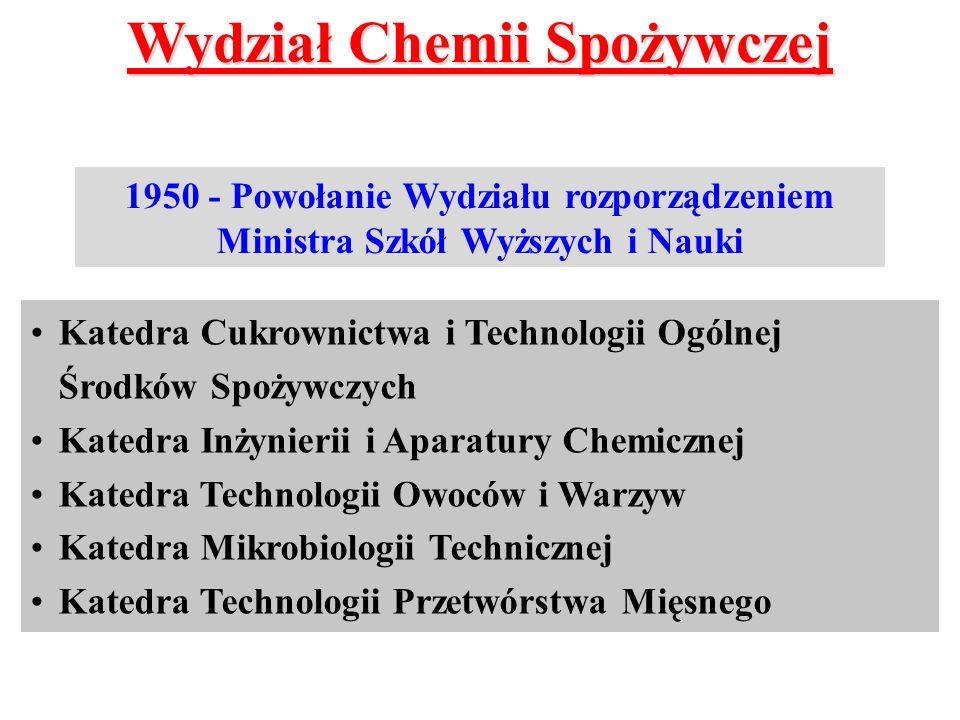 Wydział Chemii Spożywczej 1950 - Powołanie Wydziału rozporządzeniem Ministra Szkół Wyższych i Nauki Katedra Cukrownictwa i Technologii Ogólnej Środków