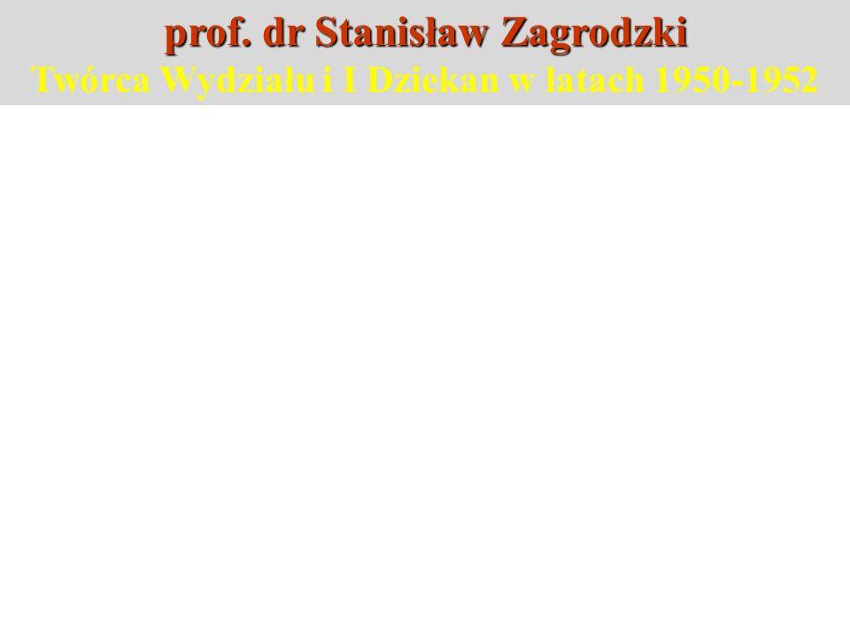 prof. dr Stanisław Zagrodzki Twórca Wydziału i I Dziekan w latach 1950-1952