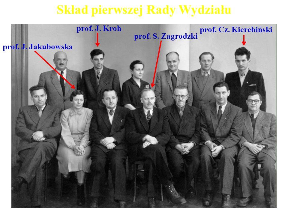 Skład pierwszej Rady Wydziału prof. S. Zagrodzki prof. J. Jakubowska prof. J. Kroh prof. Cz. Kierebiński