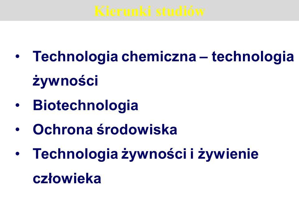Kierunki studiów Technologia chemiczna – technologia żywności Biotechnologia Ochrona środowiska Technologia żywności i żywienie człowieka