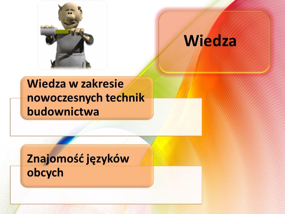 Wiedza w zakresie nowoczesnych technik budownictwa Znajomość języków obcych Wiedza