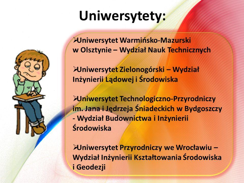 Uniwersytety:  Uniwersytet Warmińsko-Mazurski w Olsztynie – Wydział Nauk Technicznych  Uniwersytet Zielonogórski – Wydział Inżynierii Lądowej i Środ