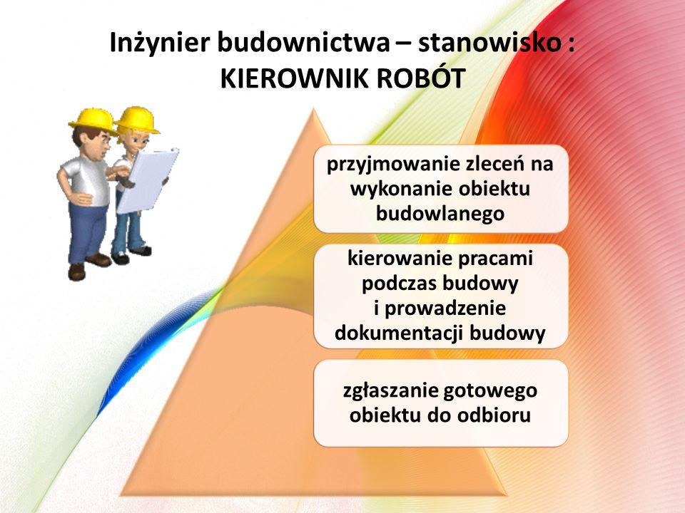 Inżynier budownictwa – stanowisko : KIEROWNIK ROBÓT przyjmowanie zleceń na wykonanie obiektu budowlanego kierowanie pracami podczas budowy i prowadzen