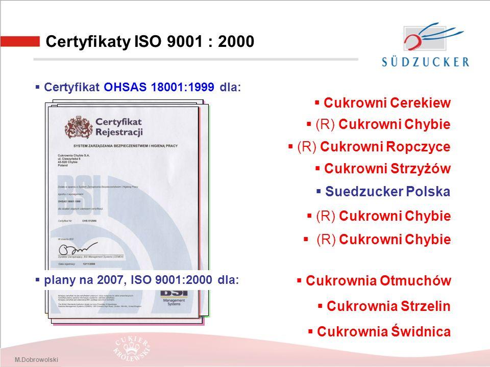 M.Dobrowolski Certyfikaty ISO 9001 : 2000  Certyfikat PN EN ISO 9001:2000 dla:  Cukrowni Cerekiew  (R) Cukrowni Chybie  (R) Cukrowni Ropczyce  Cukrowni Strzyżów  Suedzucker Polska  Certyfikat ISO 14001:2000 dla:  (R) Cukrowni Chybie  Certyfikat OHSAS 18001:1999 dla:  (R) Cukrowni Chybie  plany na 2007, ISO 9001:2000 dla:  Cukrownia Otmuchów  Cukrownia Strzelin  Cukrownia Świdnica