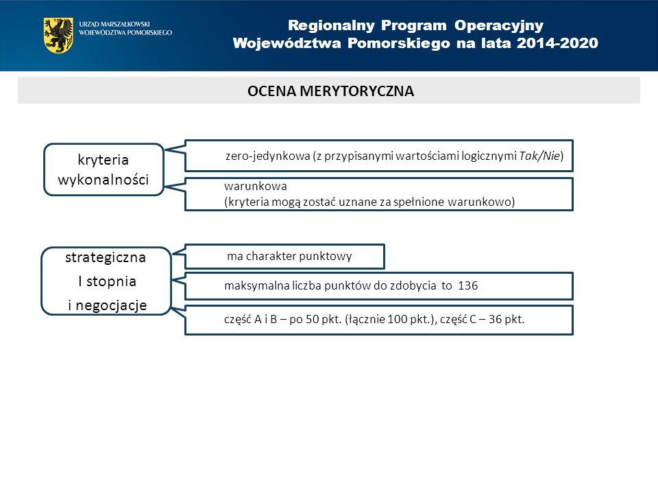 OCENA MERYTORYCZNA Regionalny Program Operacyjny Województwa Pomorskiego na lata 2014-2020 kryteria wykonalności strategiczna I stopnia i negocjacje zero-jedynkowa (z przypisanymi wartościami logicznymi Tak/Nie) warunkowa (kryteria mogą zostać uznane za spełnione warunkowo) ma charakter punktowy maksymalna liczba punktów do zdobycia to 136 część A i B – po 50 pkt.