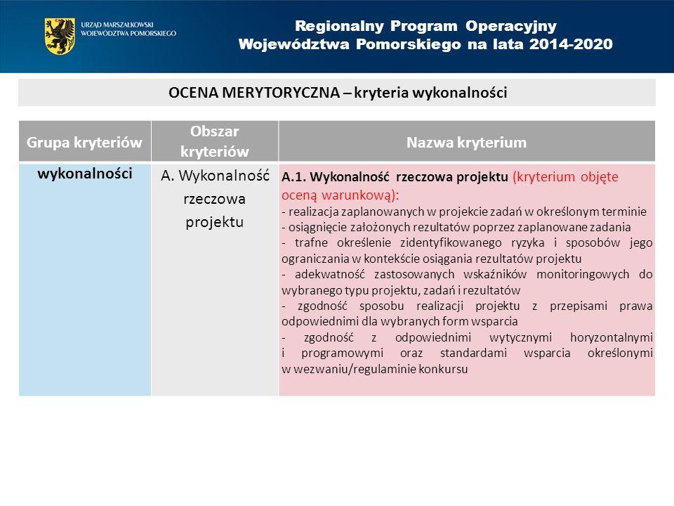 Grupa kryteriów Obszar kryteriów Nazwa kryterium wykonalności A.