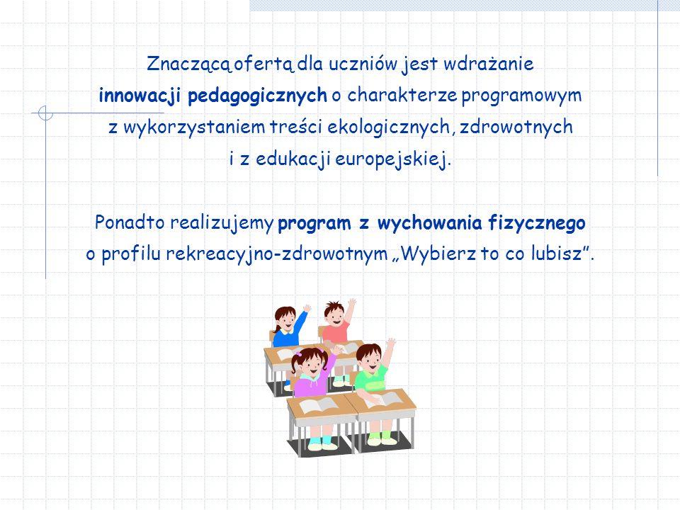 Znaczącą ofertą dla uczniów jest wdrażanie innowacji pedagogicznych o charakterze programowym z wykorzystaniem treści ekologicznych, zdrowotnych i z edukacji europejskiej.
