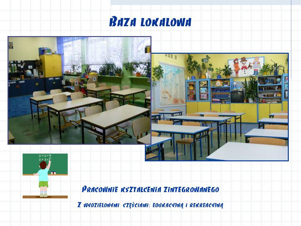 Baza lokalowa Pracownie kształcenia zintegrowanego Z wydzielonymi częściami: edukacyjną i rekreacyjną