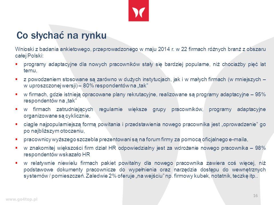 Co słychać na rynku 16 Wnioski z badania ankietowego, przeprowadzonego w maju 2014 r.