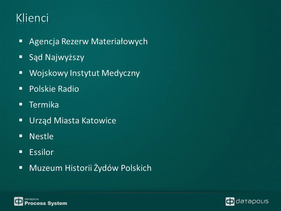 Agencja Rezerw Materiałowych  Sąd Najwyższy  Wojskowy Instytut Medyczny  Polskie Radio  Termika  Urząd Miasta Katowice  Nestle  Essilor  Muzeum Historii Żydów Polskich