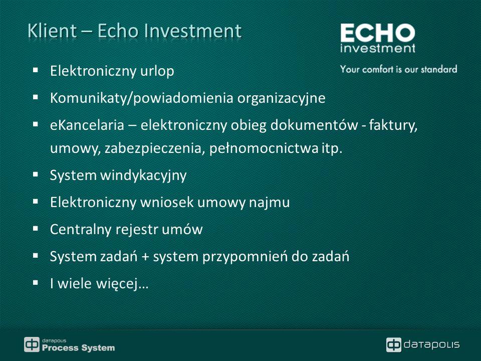  Elektroniczny urlop  Komunikaty/powiadomienia organizacyjne  eKancelaria – elektroniczny obieg dokumentów - faktury, umowy, zabezpieczenia, pełnomocnictwa itp.