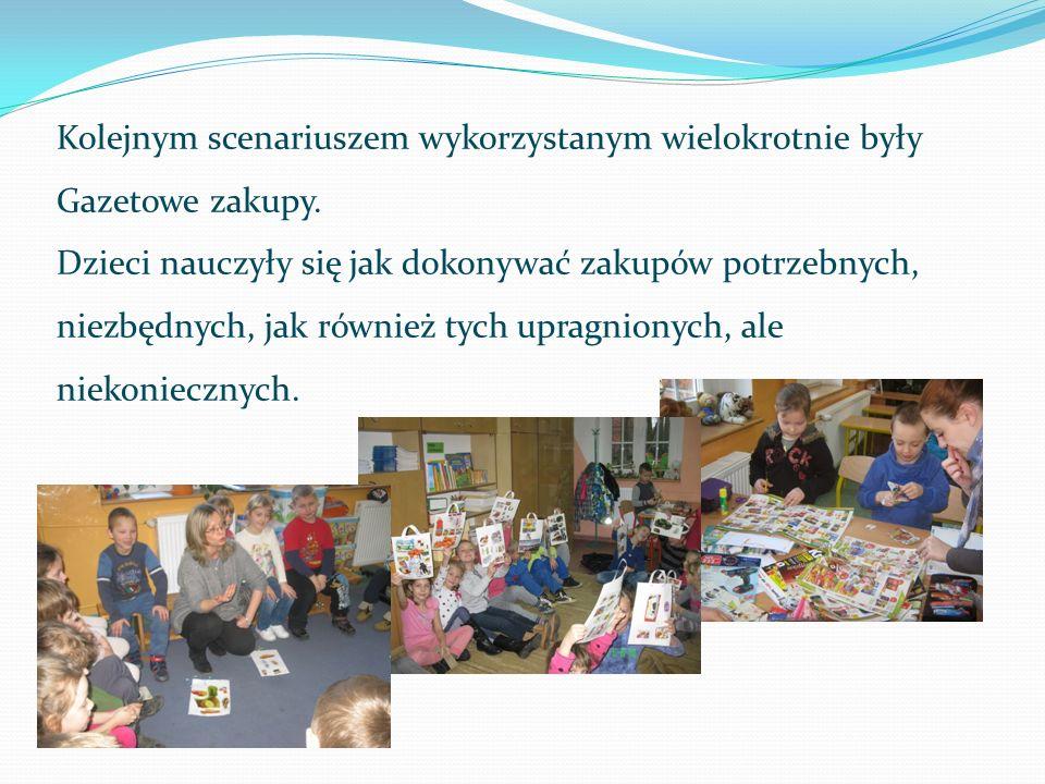 Kolejnym scenariuszem wykorzystanym wielokrotnie były Gazetowe zakupy. Dzieci nauczyły się jak dokonywać zakupów potrzebnych, niezbędnych, jak również