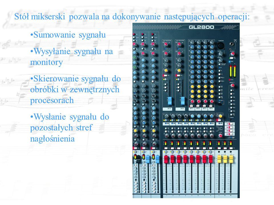 Stół mikserski pozwala na dokonywanie następujących operacji: Sumowanie sygnału Wysyłanie sygnału na monitory Skierowanie sygnału do obróbki w zewnętrznych procesorach Wysłanie sygnału do pozostałych stref nagłośnienia