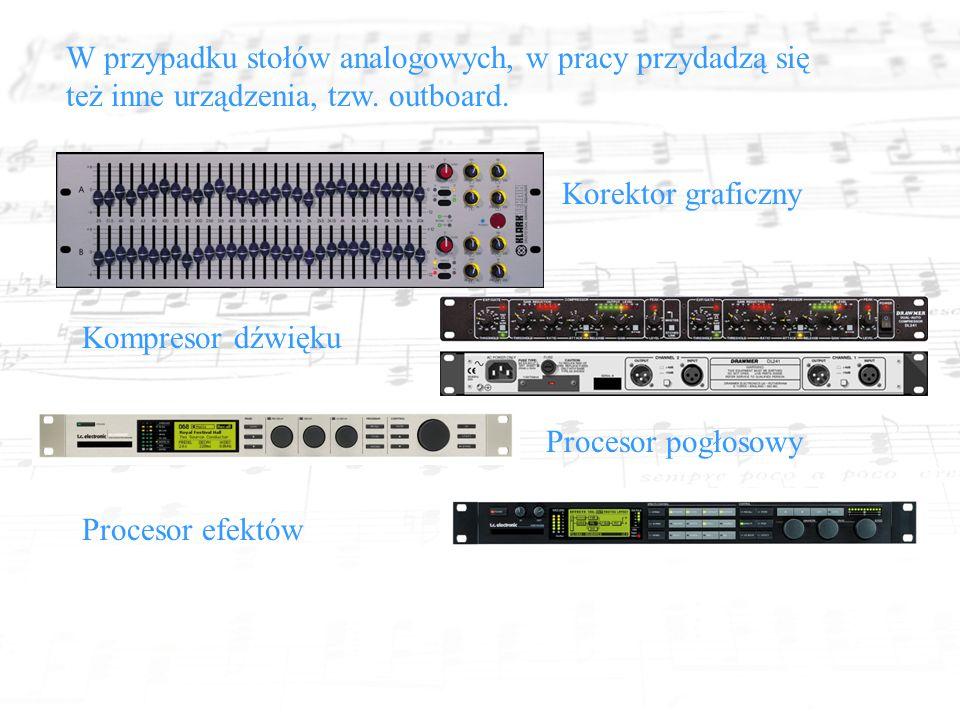 W przypadku stołów analogowych, w pracy przydadzą się też inne urządzenia, tzw.