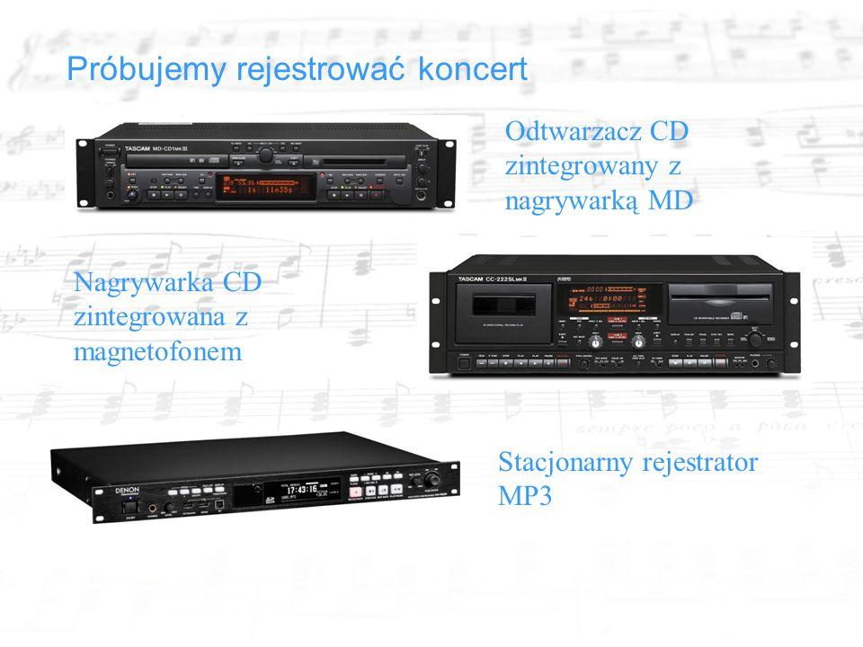 Próbujemy rejestrować koncert Odtwarzacz CD zintegrowany z nagrywarką MD Nagrywarka CD zintegrowana z magnetofonem Stacjonarny rejestrator MP3