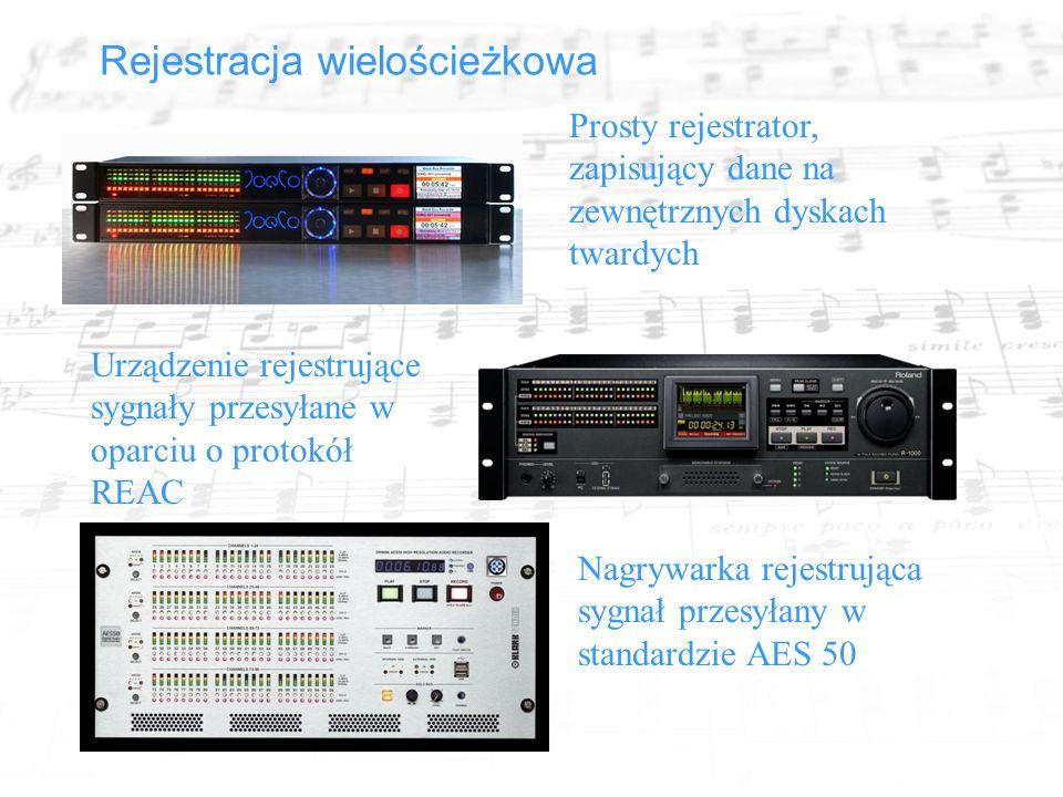 Rejestracja wielościeżkowa Prosty rejestrator, zapisujący dane na zewnętrznych dyskach twardych Urządzenie rejestrujące sygnały przesyłane w oparciu o protokół REAC Nagrywarka rejestrująca sygnał przesyłany w standardzie AES 50
