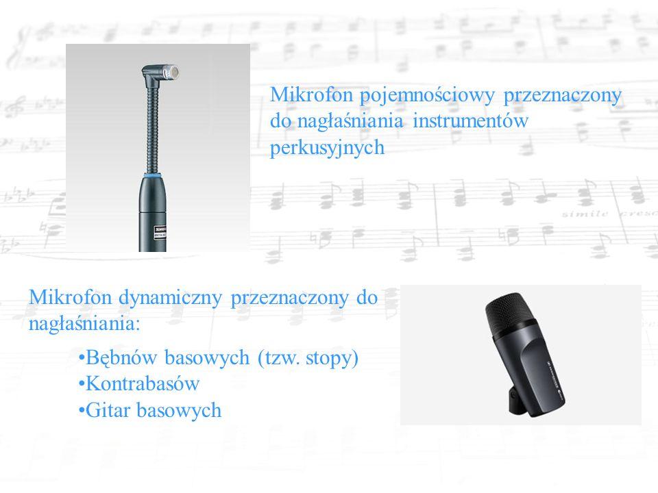 Mikrofon pojemnościowy przeznaczony do nagłaśniania instrumentów perkusyjnych Mikrofon dynamiczny przeznaczony do nagłaśniania: Bębnów basowych (tzw.