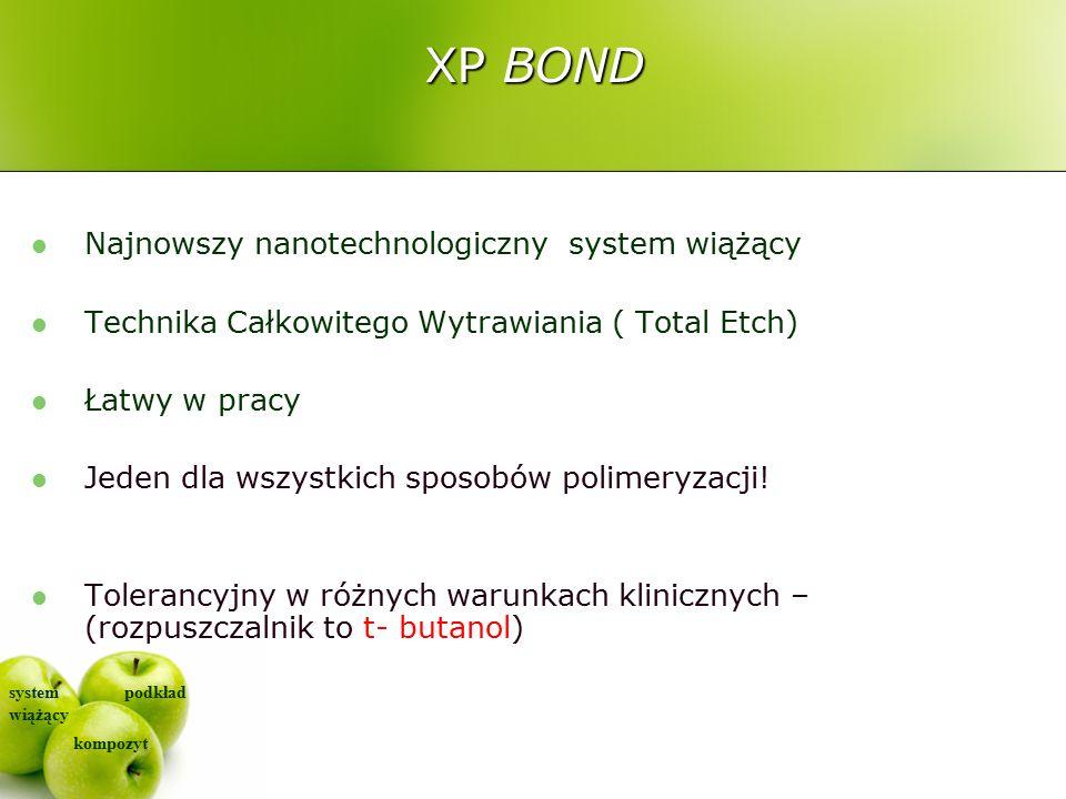 system wiążący kompozyt podkład XP BOND Najnowszy nanotechnologiczny system wiążący Technika Całkowitego Wytrawiania ( Total Etch) Łatwy w pracy Jeden dla wszystkich sposobów polimeryzacji.