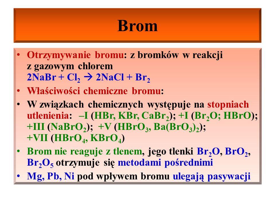 Brom Właściwości chemiczne bromu: W podwyższonej temp.