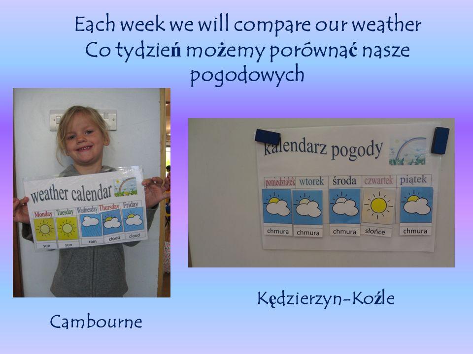 Each week we will compare our weather Co tydzie ń mo ż emy porówna ć nasze pogodowych Cambourne K ę dzierzyn-Ko ź le