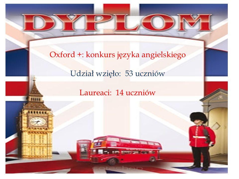 Oxford +: konkurs języka angielskiego Udział wzięło: 53 uczniów Laureaci: 14 uczniów